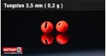 Wolframová hlavička 3,5 mm - red - 5 ks