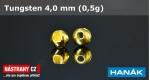 Wolframová hlavička 4,0 mm - gold - 5 ks