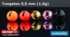 Wolframová hlavička 5,5 mm - 1,5 g - 5 ks