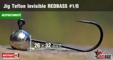 Bezprotihrotá jigová hlavička Teflon Invisible REDBASS # 1/0, 5 ks