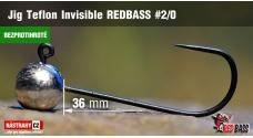 Bezprotihrotá jigová hlavička Teflon Invisible REDBASS # 2/0, 5 ks