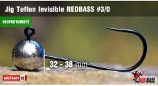 Bezprotihrotá jigová hlavička Teflon Invisible REDBASS # 3/0, 5 ks