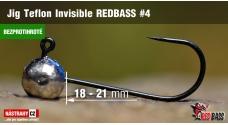 Bezprotihrotá jigová hlavička Teflon Invisible REDBASS # 4, 5 ks