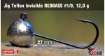 Jig Teflon Invisible RedBass #1/0 - 12,0 g, 5 ks +6 Kč