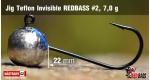 Jig Teflon Invisible RedBass #2 - 7,0 g, 5 ks
