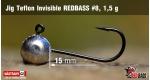 Jig Teflon Invisible RedBass #8 - 1,5 g, 5 ks