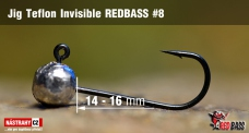 Jigová hlavička Teflon Invisible REDBASS # 8, 5 ks
