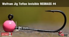Wolframový jig Teflon Invisible REDBASS vel. 4 - 21 mm - 5 ks