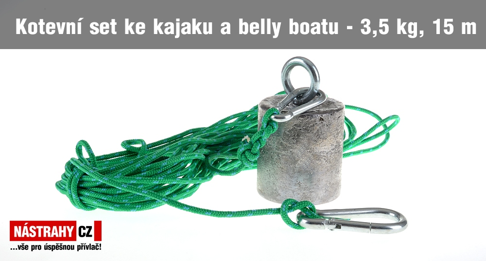 Kotevní set ke kajaku a belly boatu 3,5 kg, 15 m lano