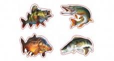 """Rybářská samolepka """"4 ryby"""""""